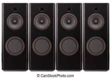 Loud speakers - Close up of a black loud speakers. Isolated...