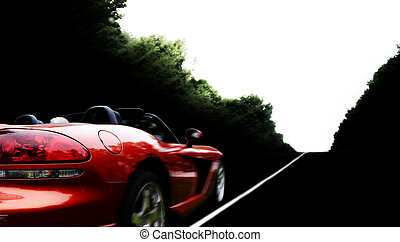 Car - Driving red modern cabriolet on the road