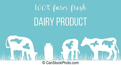 Cows silhouettes and a milk can on blue background. Concept...