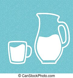 Milk symbol. Cup with milk and jar. Silhouettes on blue...