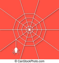 white cobweb with shadow on red background