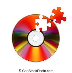 CD-ROM and puzzle Isolated over white background