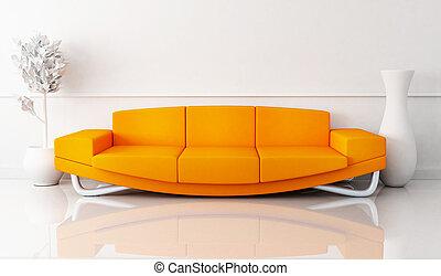Orange sofa in white room