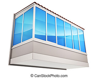 Balconies and blue glass - Advertising decoration and...