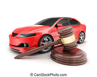 Red car and auction - Red car on white background and...