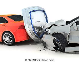 Car crash and shield - Two car crash and shield. Red auto...