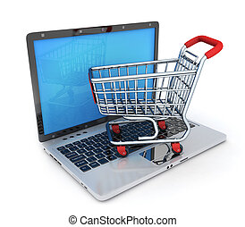 Laptop and abstract e-shop - Laptop and shop cart. Abstract...