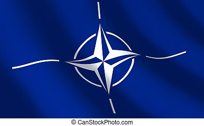 Flag NATO and wave - Blue flag NATO and wave. 3d...