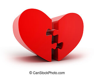 Abstract one heart puzzle - Abstract one red heart puzzle....