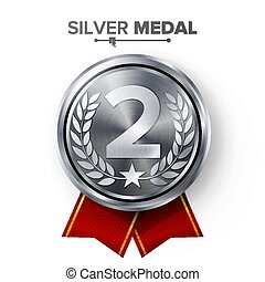 Silver 2st Place Medal Vector. Metal Realistic Badge With Second Placement Achievement. Round Label With Red Ribbon, Laurel Wreath. Winner Honor Prize. Competition Game Silver Winner Trophy Award