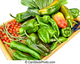 Produce from a Kitchen Garden - A tray of vegetables freshly...