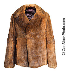 Female fur coat | Isolated - Winter coat made of rabbit fur...