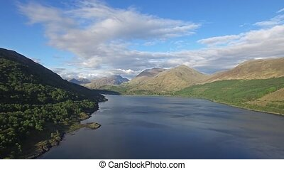 Aerial view of Loch Creran by the Loch Creran bridge,...