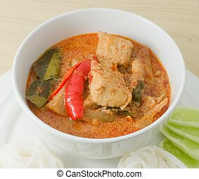 Vegan Red Curry with Thai Rice Vermicelli
