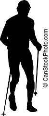 black silhouette of male runner with trekking poles running