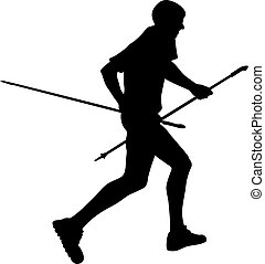 side view black silhouette male runner with trekking poles...