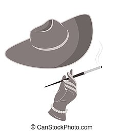 A lady in a hat and gloves smokes a cigarette.