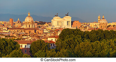 Aerial wonderful view of Rome at sunset, Italy - Panoramic...