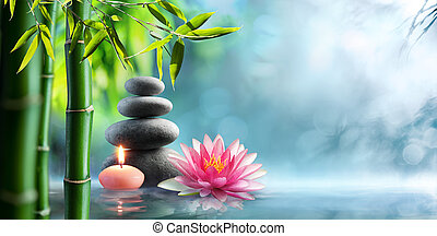 Spa - Natural Alternative Therapy With Massage Stones And Waterlily In Water
