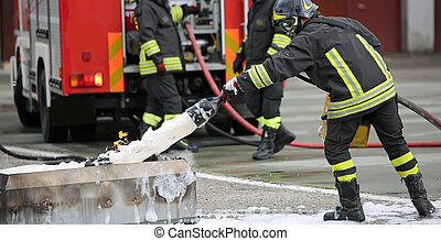 Firefighter training and fire extinguishing with foam and...