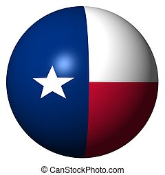 Texas flag sphere on white illustration - Texas flag sphere...
