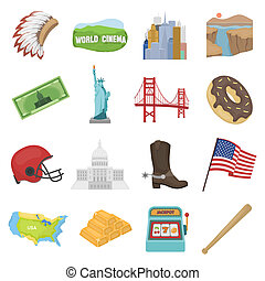 USA country set icons in cartoon style. Big collection of USA country bitmap,rastr symbol stock illustration