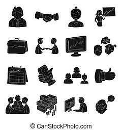 Conference and negetiations set icons in black style. Big...