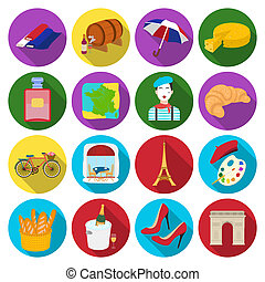 France country set icons in flat style. Big collection of...