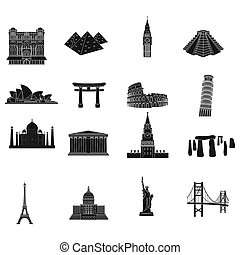 Countries set icons in black style. Big collection of countries bitmap,rastr symbol stock illustration