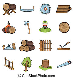 Sawmil and timber set icons in cartoon style. Big collection...