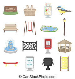Park set icons in cartoon style. Big collection park...