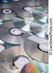 CDs background - Recordable compact discs in an array Studio...