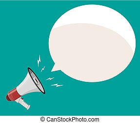 Loudspeaker or megaphone and speech balloon. Announcement...