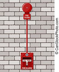 Fire alarm system at brick wall. Fire equipment.