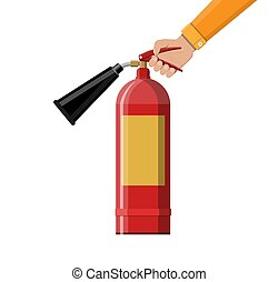 Fire extinguisher in hand. Fire equipment. Vector...