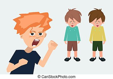 aggressive child in the background of crying children cartoon