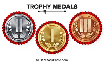 Gold, Silver, Bronze Place Badge, Medal Set Vector. Realistic Achievement With First, Second, Third Placement. Round Championship Label, Red Rosette. Winner Honor Prize. Sport Game Challenge Award