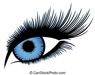 Abstract human eye with long eyelashes and with blue...