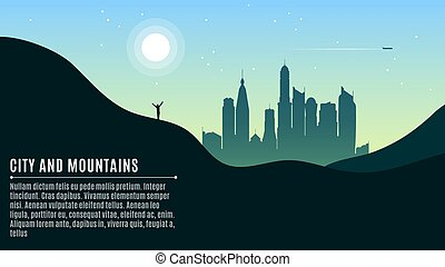Landscape on the hilly mountains and the big morning city....