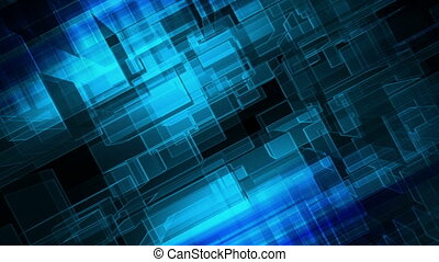 Blue geometric slanted abstract animated looping CG background