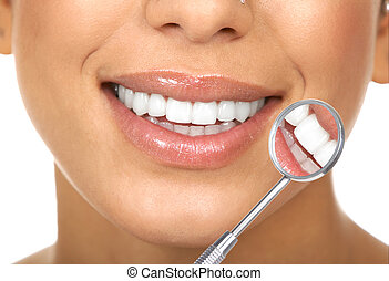 healthy teeth - Healthy woman teeth and a dentist mouth...