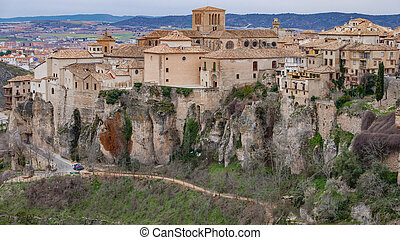 Cuenca old town - Close up vintage view of Cuenca old town