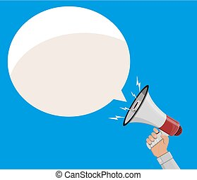 Loudspeaker or megaphone and speech balloon. - Loudspeaker...