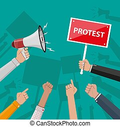 Protest concept with megaphone - Cartoon hands of...