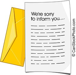 Rejection letter. Vector illustration