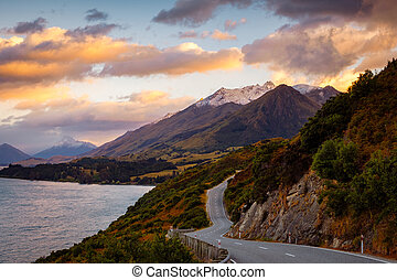 Scenic view of mountain landscape and the road, Bennetts...