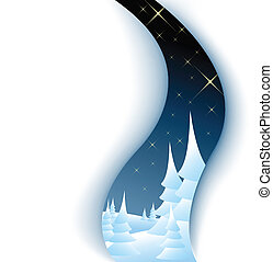 Christmas card with winter landscape - cutout