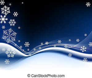 Dark blue Christmas background with white snowflakes