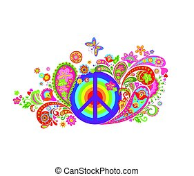 Print with hippie peace symbol with vintage colorful flowers pattern and rainbow