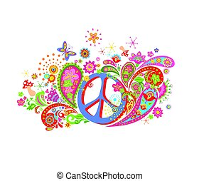 Psychedelic print with hippie peace symbol, mushrooms, colorful abstract flowers and paisley